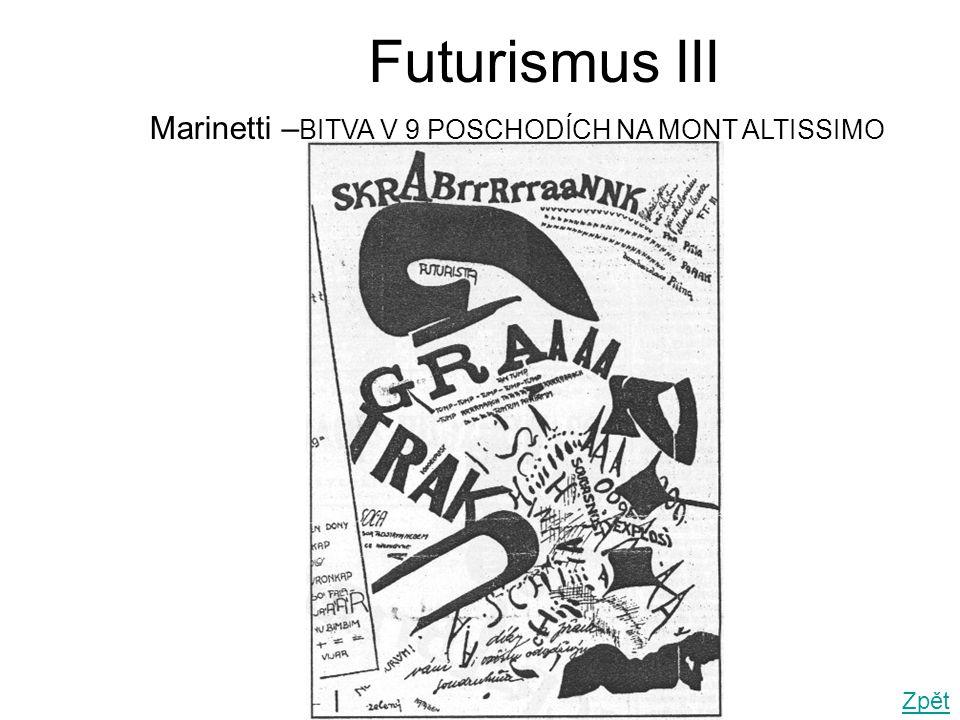Futurismus III Marinetti –BITVA V 9 POSCHODÍCH NA MONT ALTISSIMO Zpět