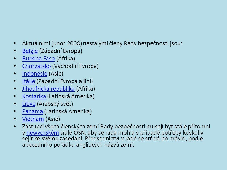 Aktuálními (únor 2008) nestálými členy Rady bezpečnosti jsou: