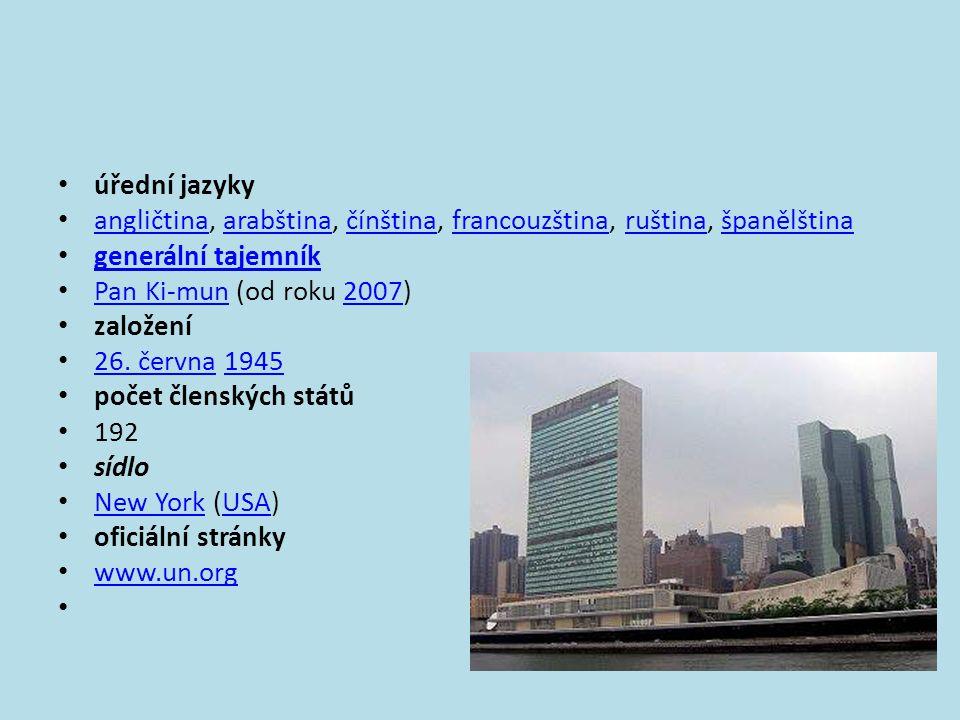 úřední jazyky angličtina, arabština, čínština, francouzština, ruština, španělština. generální tajemník