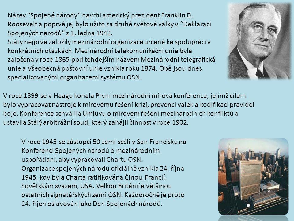 Název Spojené národy navrhl americký prezident Franklin D