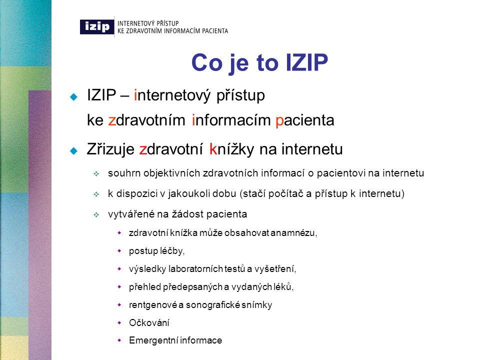Co je to IZIP IZIP – internetový přístup ke zdravotním informacím pacienta. Zřizuje zdravotní knížky na internetu.
