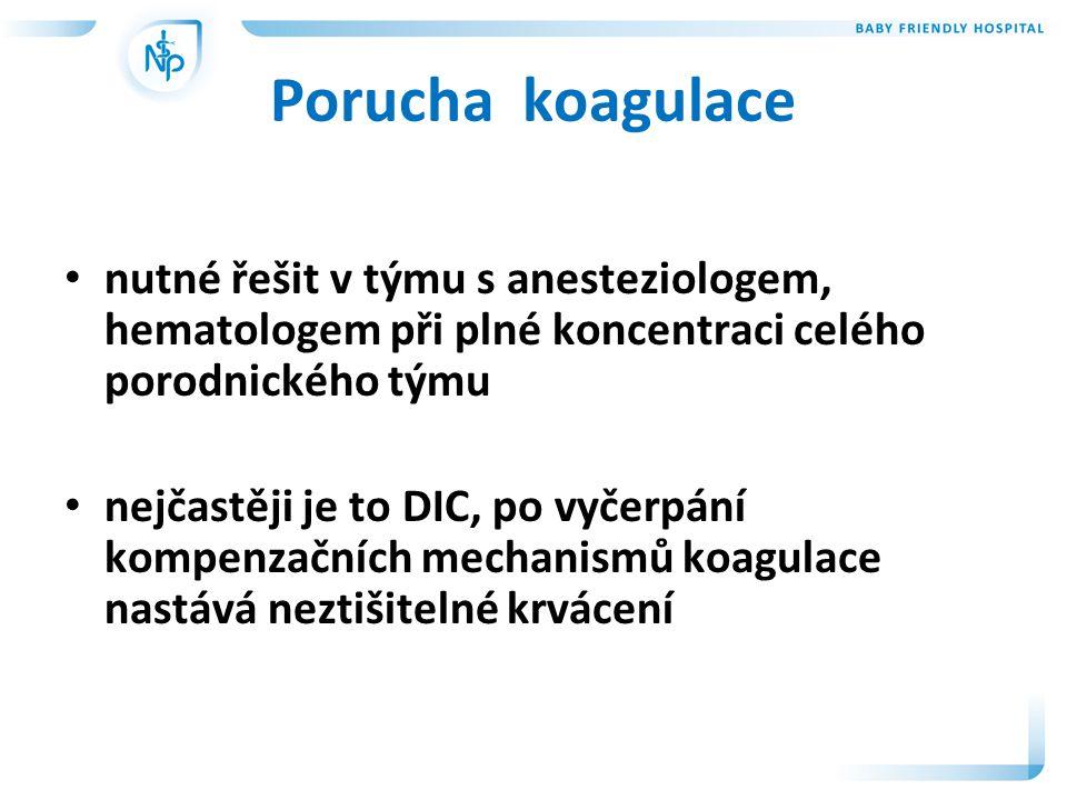 Porucha koagulace nutné řešit v týmu s anesteziologem, hematologem při plné koncentraci celého porodnického týmu.