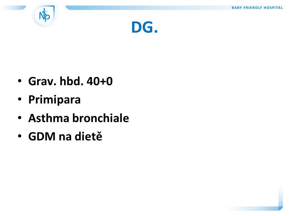 DG. Grav. hbd. 40+0 Primipara Asthma bronchiale GDM na dietě