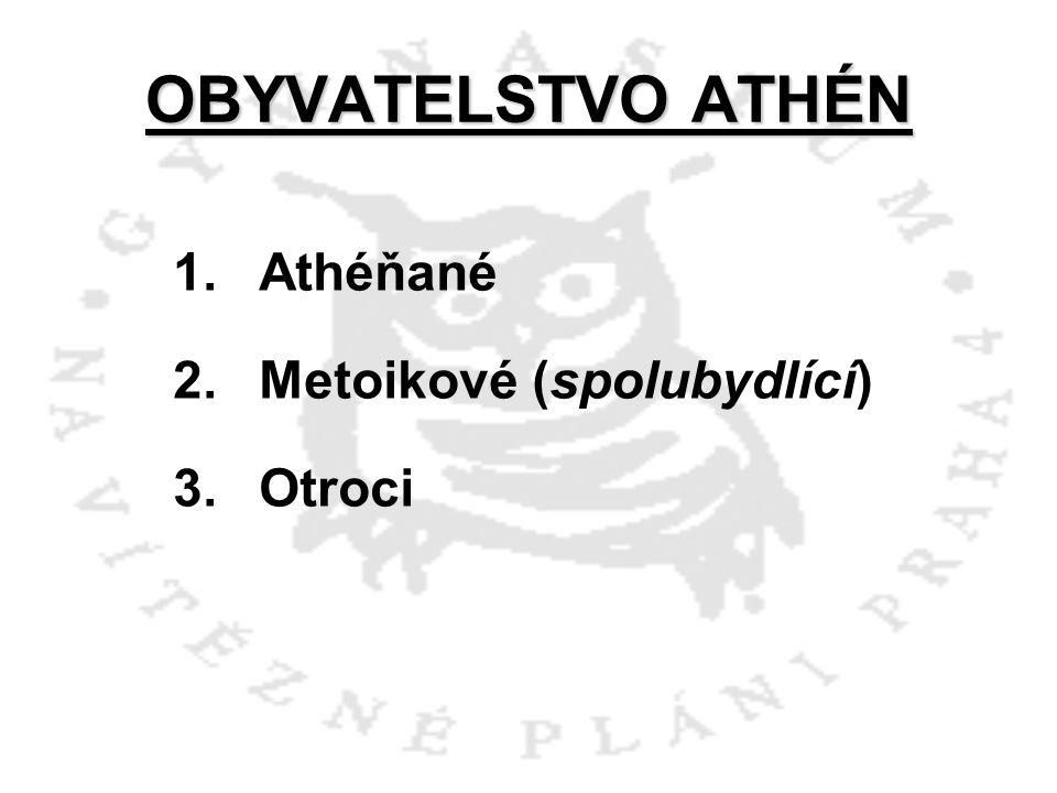 OBYVATELSTVO ATHÉN Athéňané Metoikové (spolubydlící) Otroci