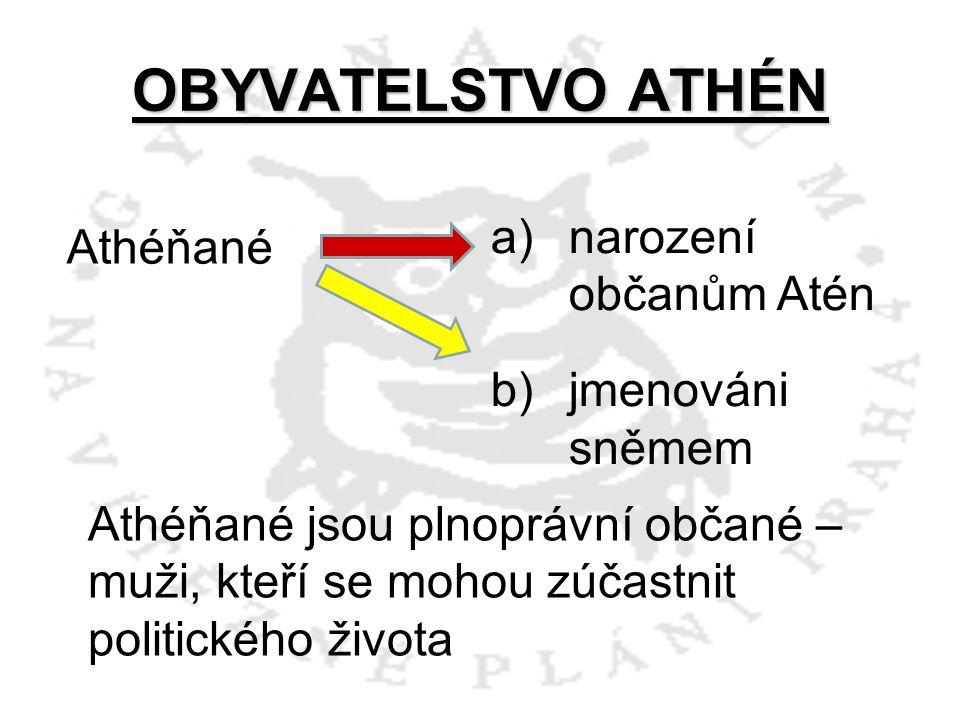 OBYVATELSTVO ATHÉN Athéňané narození občanům Atén jmenováni sněmem