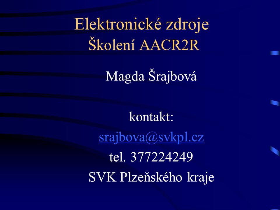 Elektronické zdroje Školení AACR2R