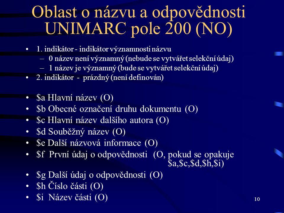 Oblast o názvu a odpovědnosti UNIMARC pole 200 (NO)