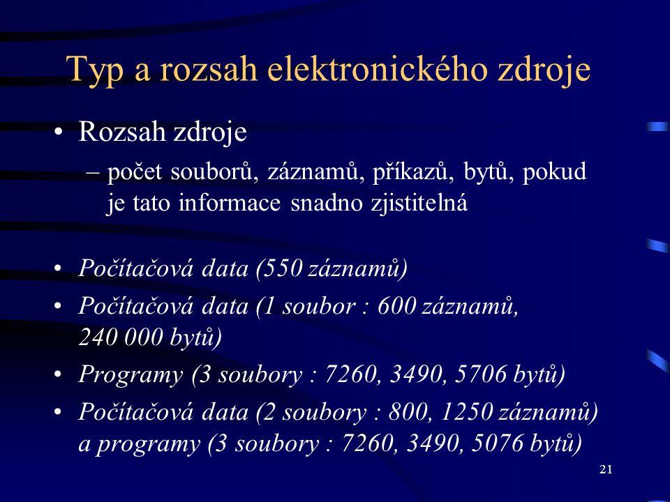 Typ a rozsah elektronického zdroje