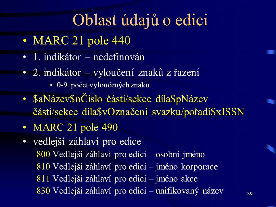 Oblast údajů o edici MARC 21 pole 440 1. indikátor – nedefinován