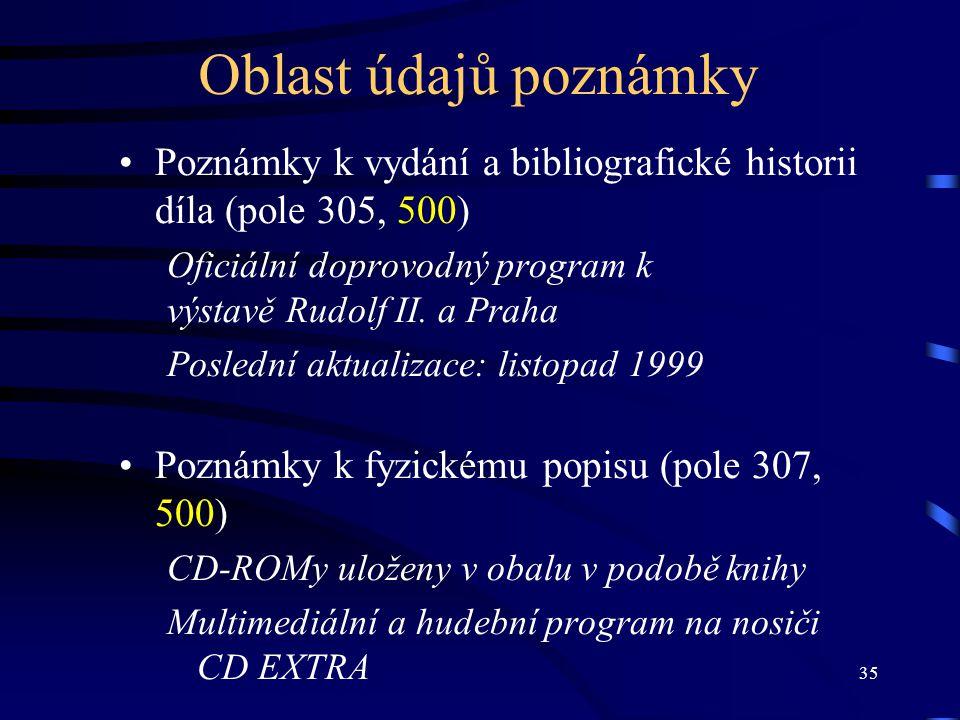 Oblast údajů poznámky Poznámky k vydání a bibliografické historii díla (pole 305, 500) Oficiální doprovodný program k.