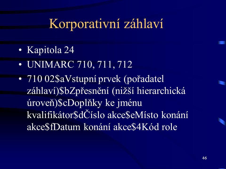 Korporativní záhlaví Kapitola 24 UNIMARC 710, 711, 712