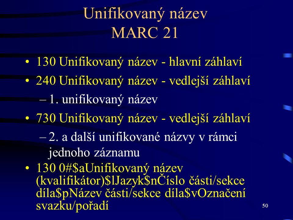 Unifikovaný název MARC 21