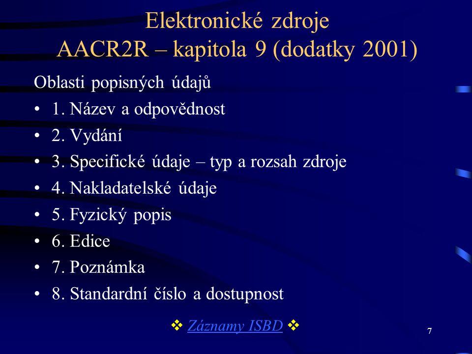 Elektronické zdroje AACR2R – kapitola 9 (dodatky 2001)
