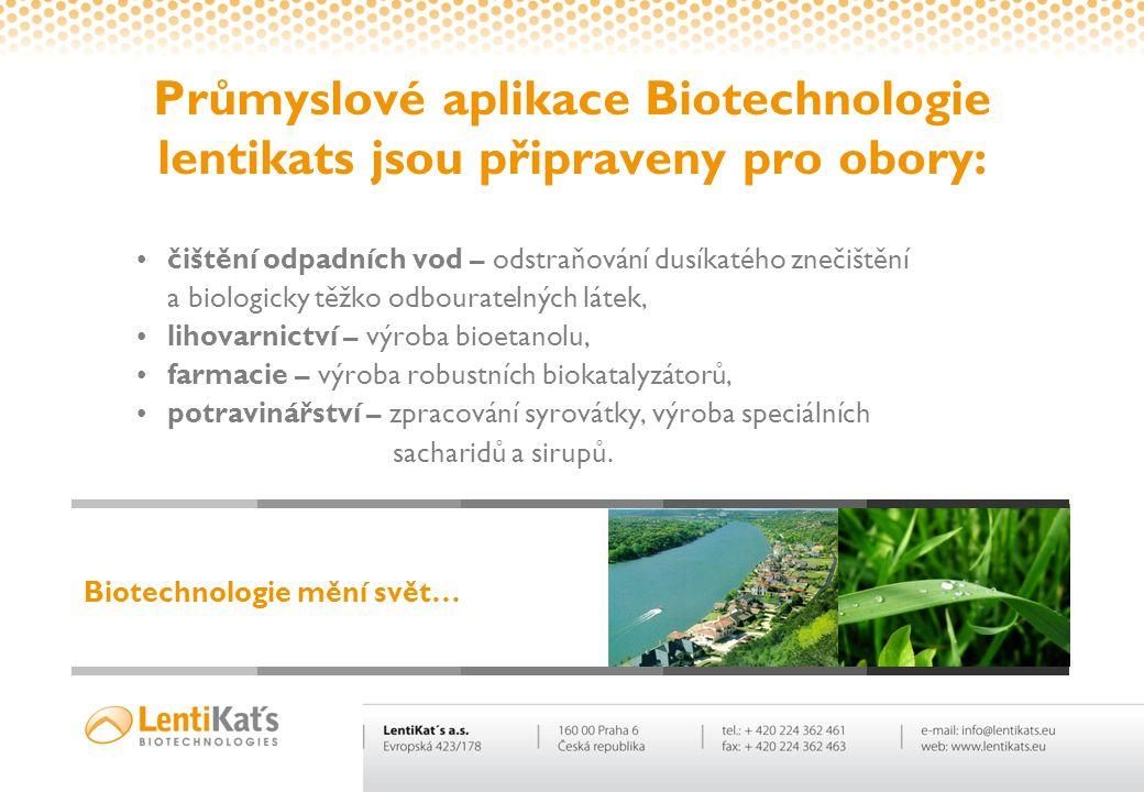 Průmyslové aplikace Biotechnologie lentikats jsou připraveny pro obory: