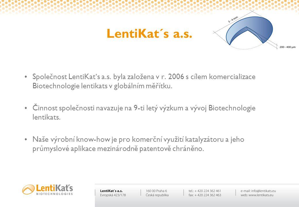 LentiKat´s a.s. Společnost LentiKat's a.s. byla založena v r. 2006 s cílem komercializace Biotechnologie lentikats v globálním měřítku.