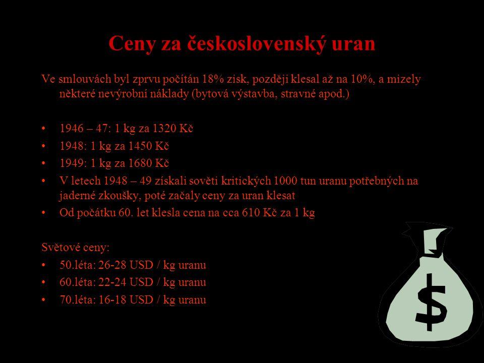 Ceny za československý uran