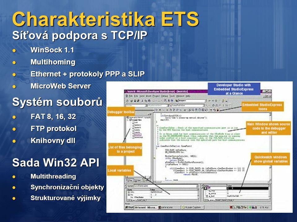 Charakteristika ETS Síťová podpora s TCP/IP Systém souborů