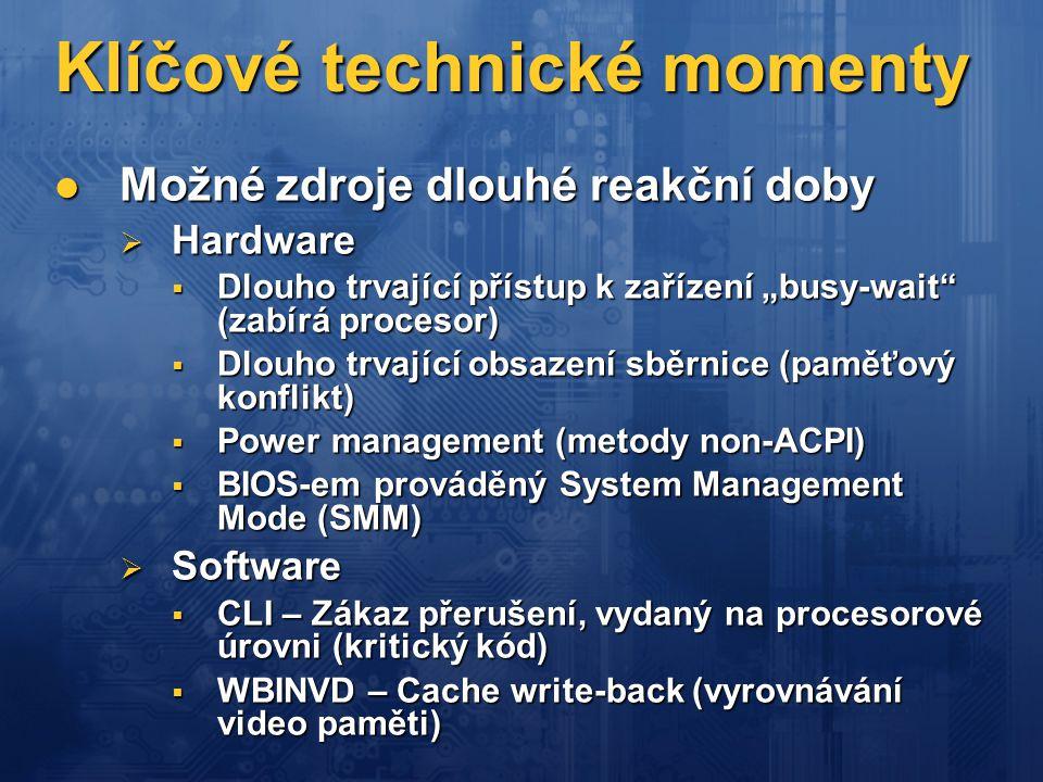 Klíčové technické momenty