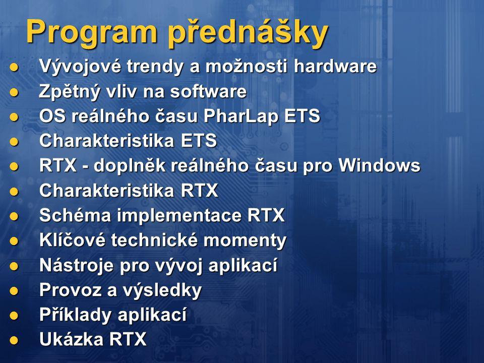 Program přednášky Vývojové trendy a možnosti hardware
