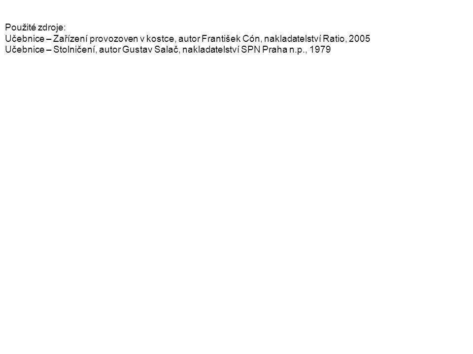 Použité zdroje: Učebnice – Zařízení provozoven v kostce, autor František Cón, nakladatelství Ratio, 2005 Učebnice – Stolničení, autor Gustav Salač, nakladatelství SPN Praha n.p., 1979