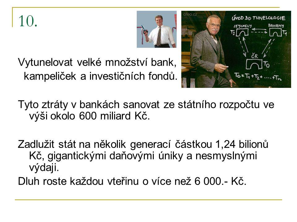 10. Vytunelovat velké množství bank, kampeliček a investičních fondů.