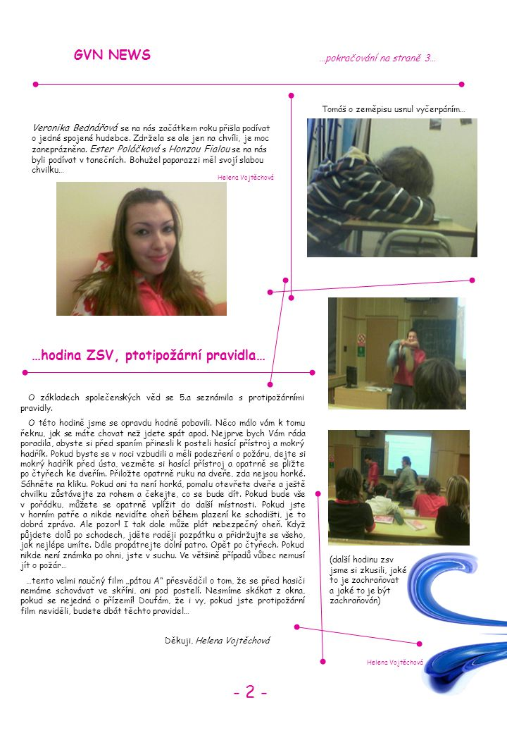 - 2 - GVN NEWS …hodina ZSV, ptotipožární pravidla…
