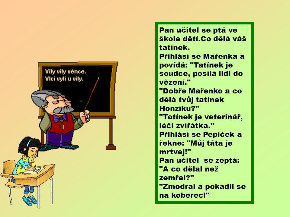 Pan učitel se ptá ve škole dětí. Co dělá váš tatínek