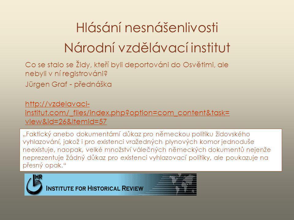 Hlásání nesnášenlivosti Národní vzdělávací institut