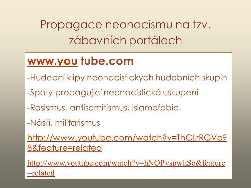 Propagace neonacismu na tzv. zábavních portálech