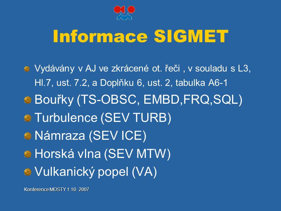 Informace SIGMET Bouřky (TS-OBSC, EMBD,FRQ,SQL) Turbulence (SEV TURB)