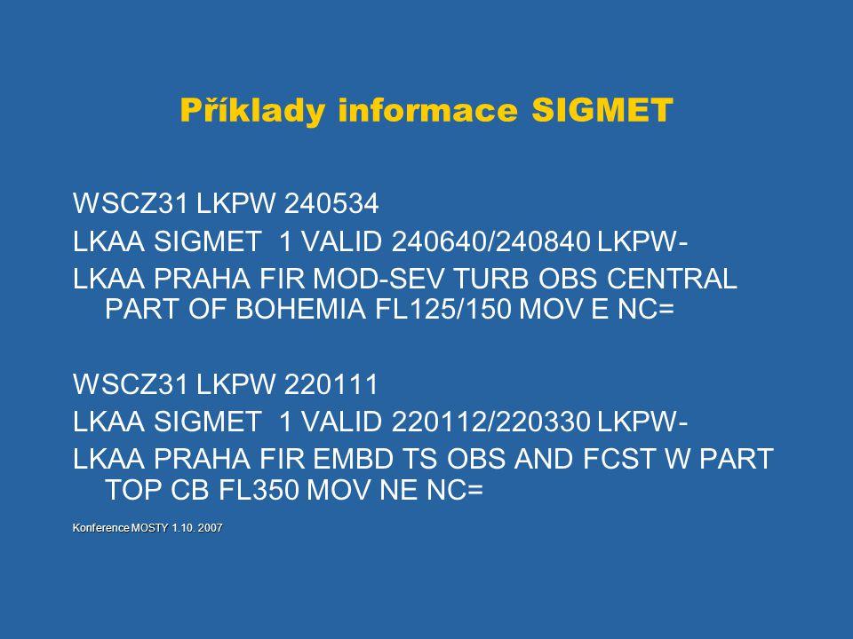 Příklady informace SIGMET