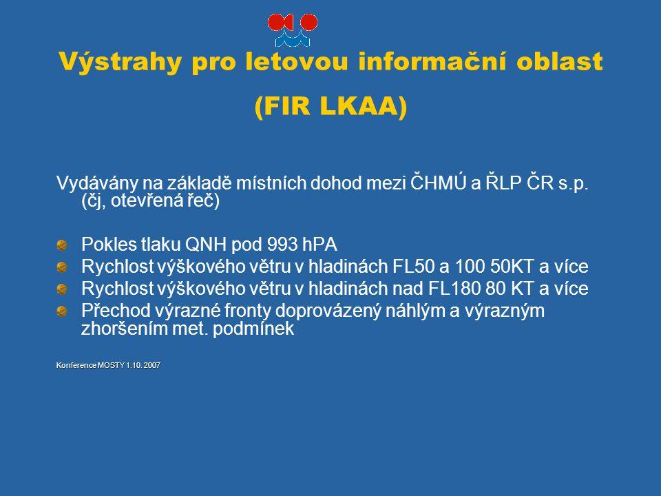 Výstrahy pro letovou informační oblast (FIR LKAA)