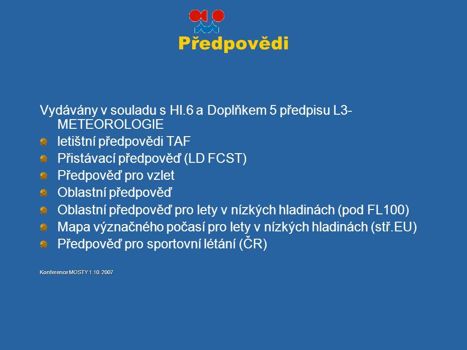 Předpovědi Vydávány v souladu s Hl.6 a Doplňkem 5 předpisu L3-METEOROLOGIE. letištní předpovědi TAF.