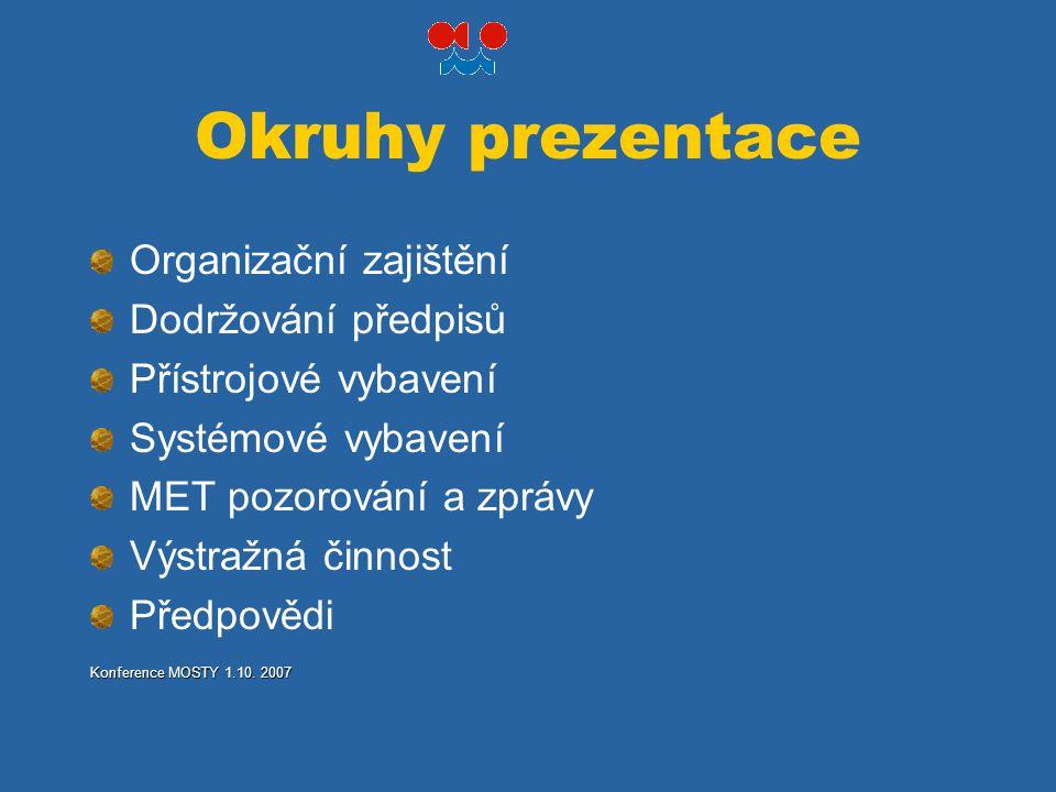 Okruhy prezentace Organizační zajištění Dodržování předpisů