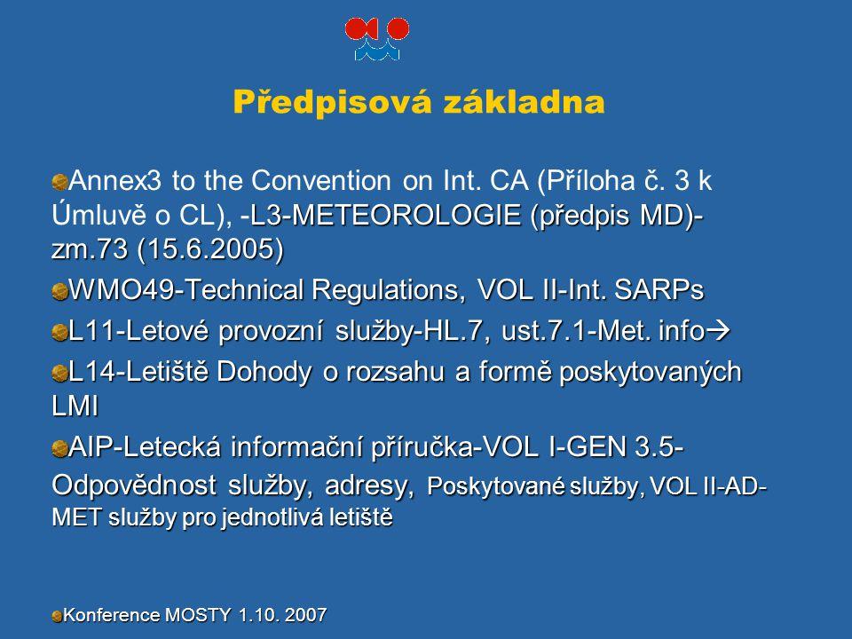 Předpisová základna Annex3 to the Convention on Int. CA (Příloha č. 3 k Úmluvě o CL), -L3-METEOROLOGIE (předpis MD)-zm.73 (15.6.2005)