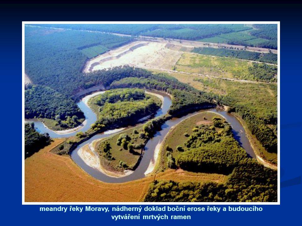 meandry řeky Moravy, nádherný doklad boční erose řeky a budoucího vytváření mrtvých ramen