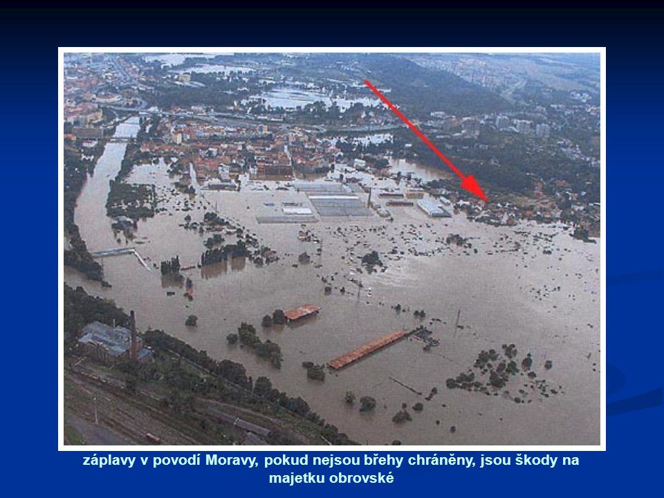 záplavy v povodí Moravy, pokud nejsou břehy chráněny, jsou škody na majetku obrovské
