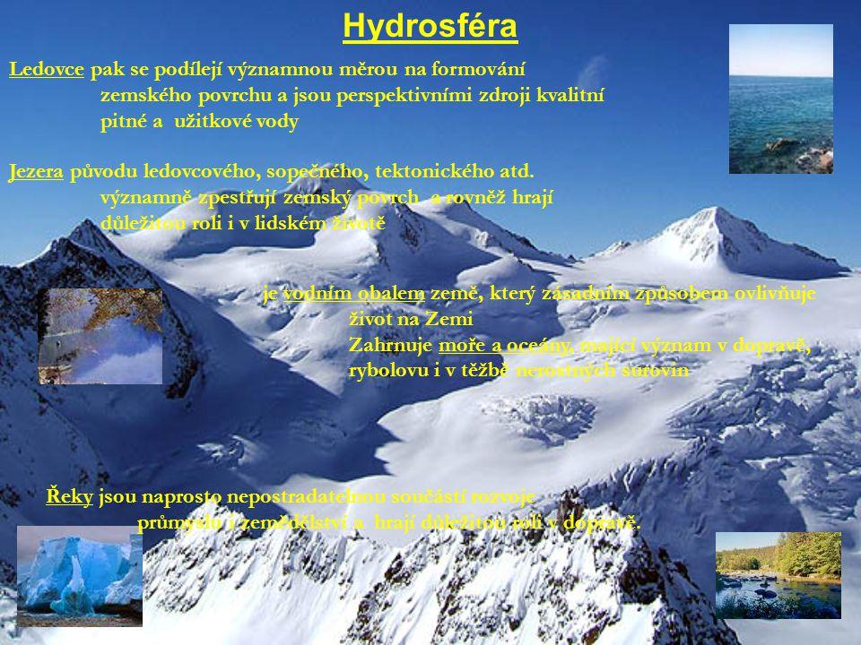 Hydrosféra Ledovce pak se podílejí významnou měrou na formování
