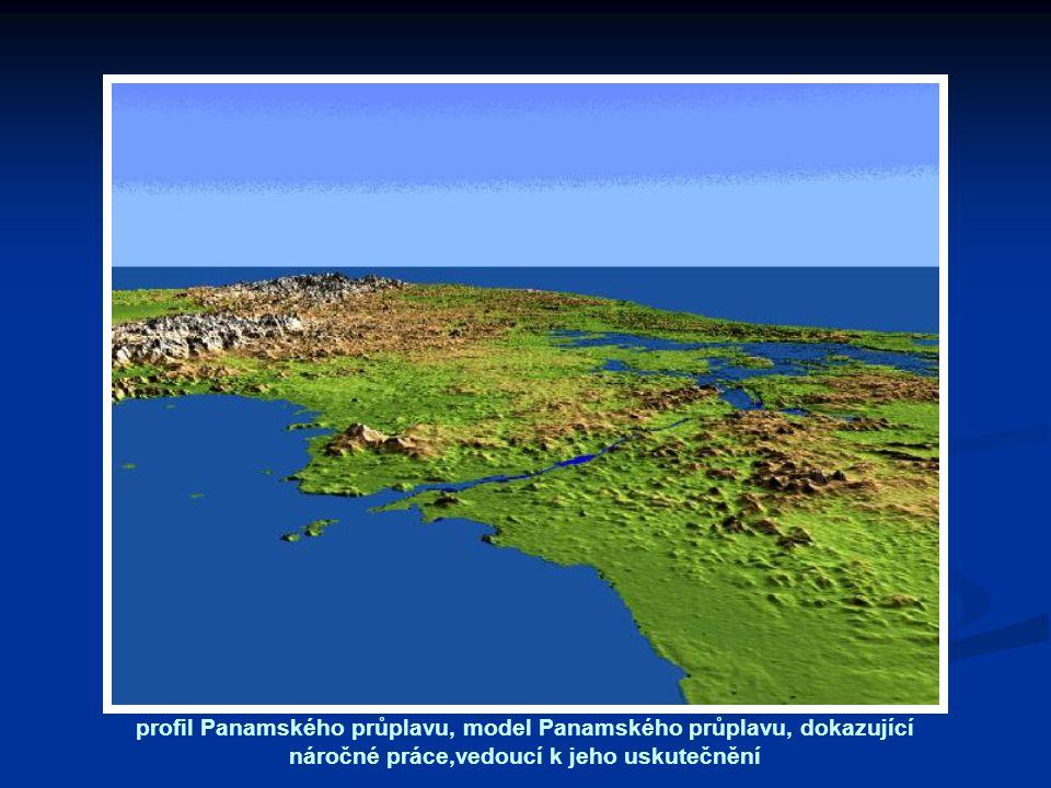 profil Panamského průplavu, model Panamského průplavu, dokazující náročné práce,vedoucí k jeho uskutečnění