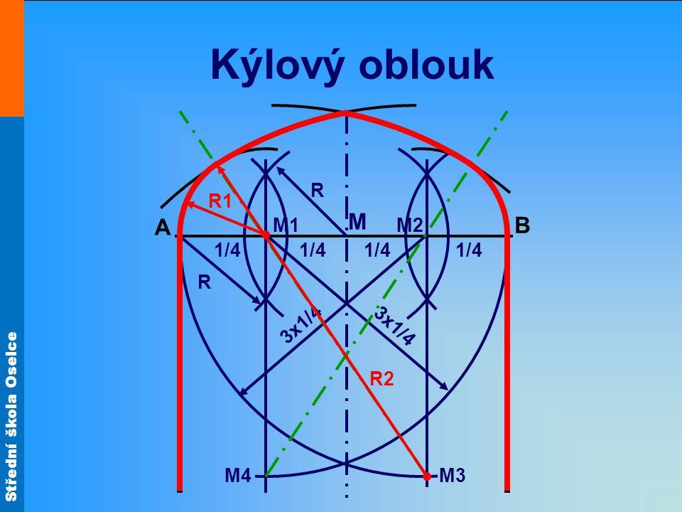 Kýlový oblouk R R1 M A M1 M2 B 1/4 1/4 1/4 1/4 R 3x1/4 3x1/4 R2 M4 M3