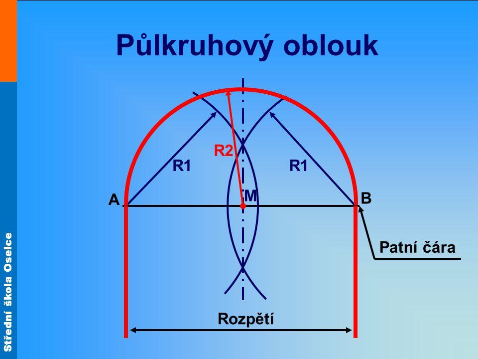 Půlkruhový oblouk R2 R1 R1 M A B Patní čára Rozpětí