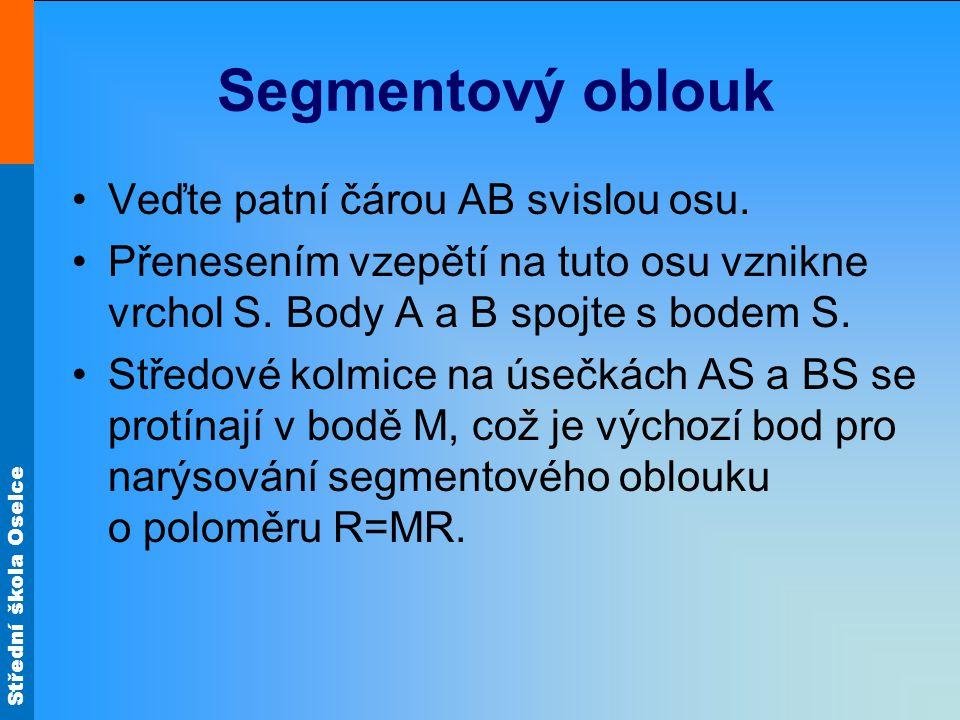 Segmentový oblouk Veďte patní čárou AB svislou osu.