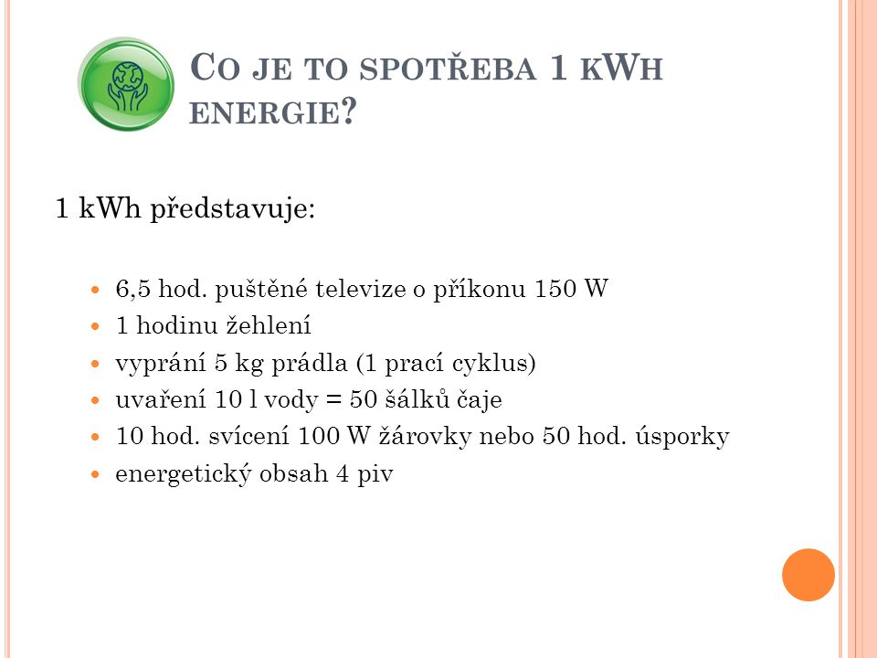 Co je to spotřeba 1 kWh energie
