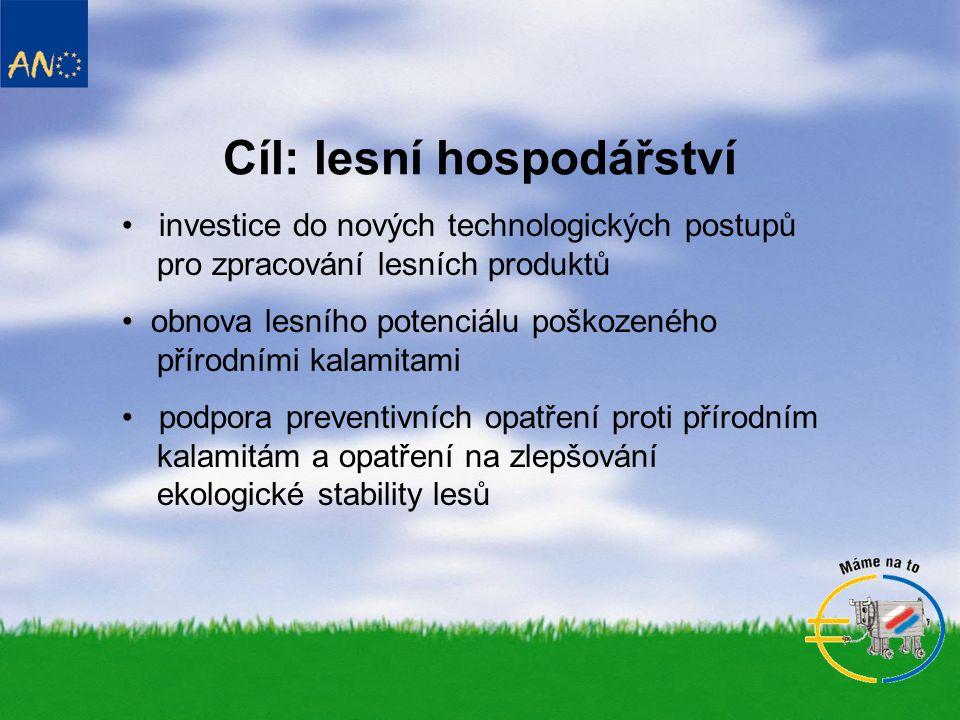 Cíl: lesní hospodářství