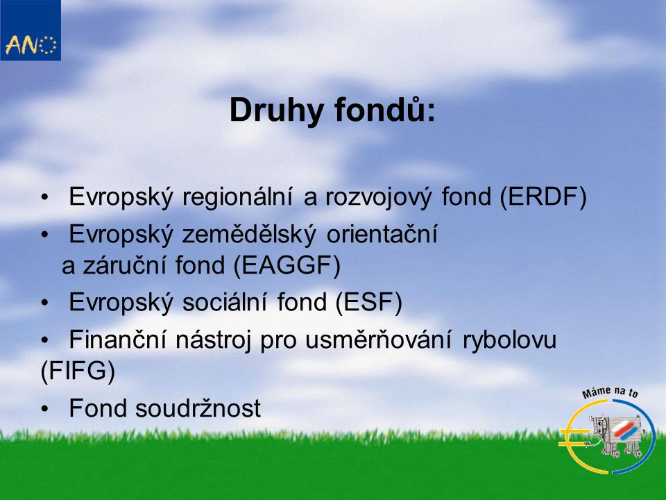 Druhy fondů: Evropský regionální a rozvojový fond (ERDF)