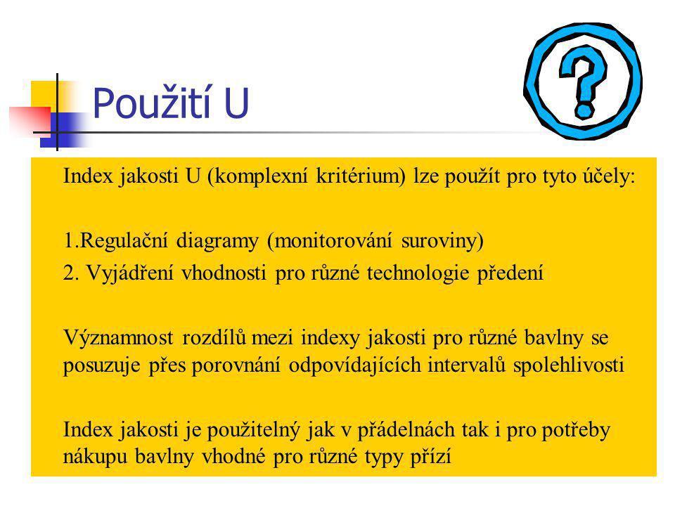 Použití U Index jakosti U (komplexní kritérium) lze použít pro tyto účely: 1.Regulační diagramy (monitorování suroviny)