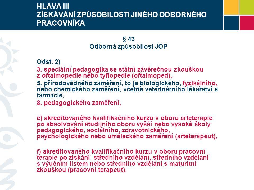 HLAVA III ZÍSKÁVÁNÍ ZPŮSOBILOSTI JINÉHO ODBORNÉHO PRACOVNÍKA