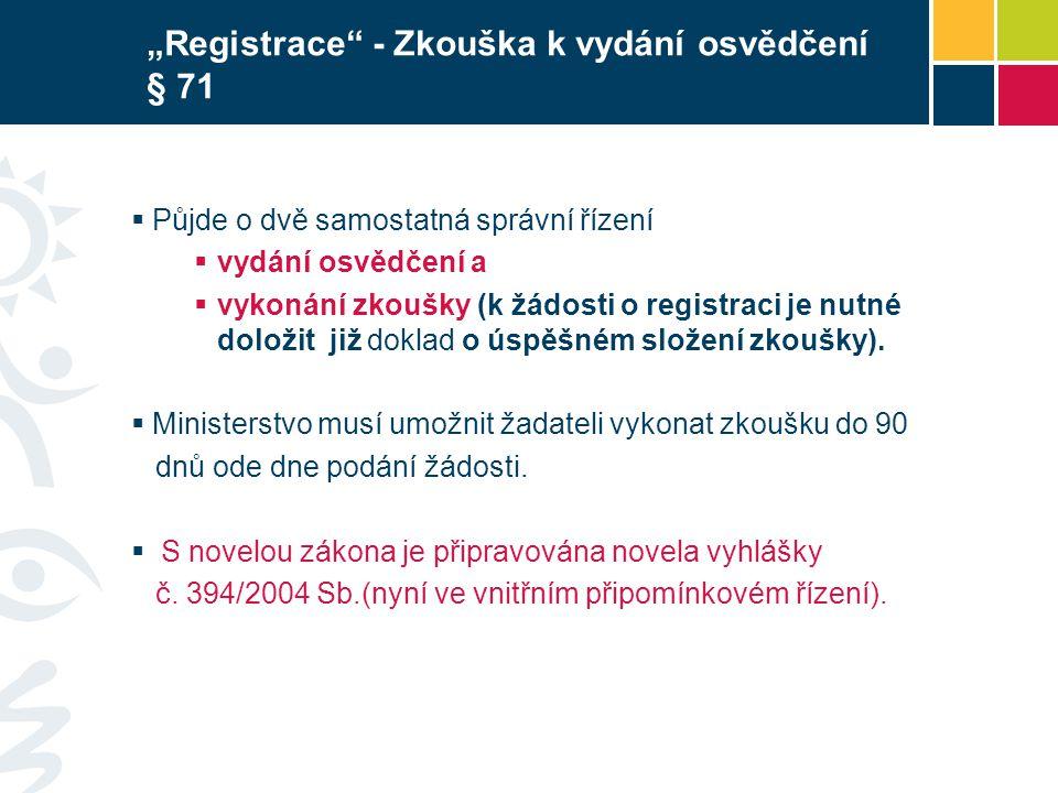 """""""Registrace - Zkouška k vydání osvědčení § 71"""