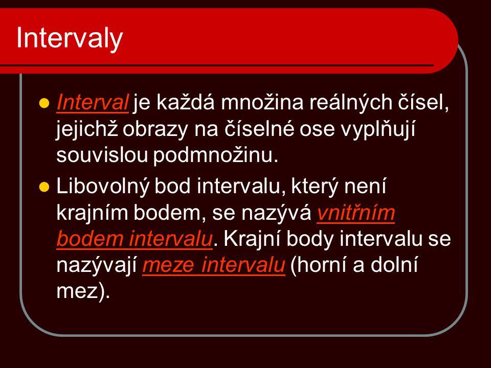 Intervaly Interval je každá množina reálných čísel, jejichž obrazy na číselné ose vyplňují souvislou podmnožinu.