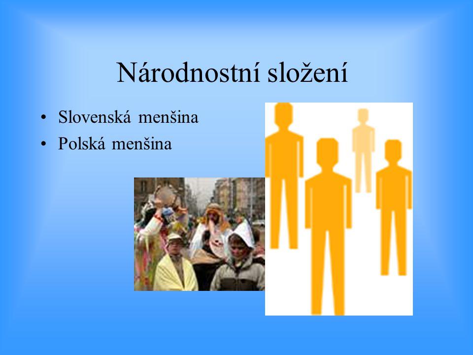Národnostní složení Slovenská menšina Polská menšina